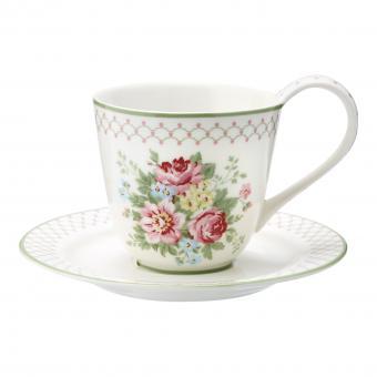 GreenGate Kaffeetasse mit Unterteller Aurelia weiß